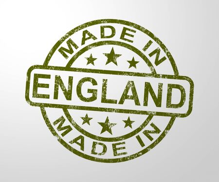 Made in England stamp shows English products produced or fabricated in the UK. Quality patriotic exports for international trade - 3d illustration