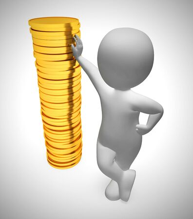 Gold coins in a stack depict wealth and ready money. A reserved fund of cash and income - 3d illustration Stock Photo