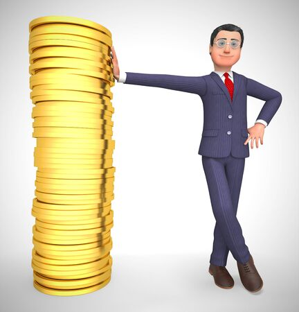 Businessman gold coins stack shows great business profits.  Wealth and prosperity for retirement - 3d illustration