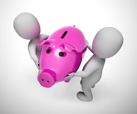 Piggy bank on money box shows saving funds for a rainy day. Get rich and wealthy by putting away cash - 3d illustration Reklamní fotografie
