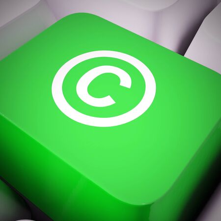 Copyrighted icon concept means protected and trademark property.  Reserved rights under patent law - 3d illustration