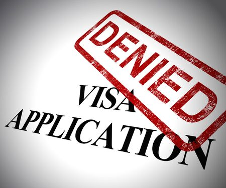 Visa application denied means passport stamp refused. Rejected travel to the foreign country - 3d illustration