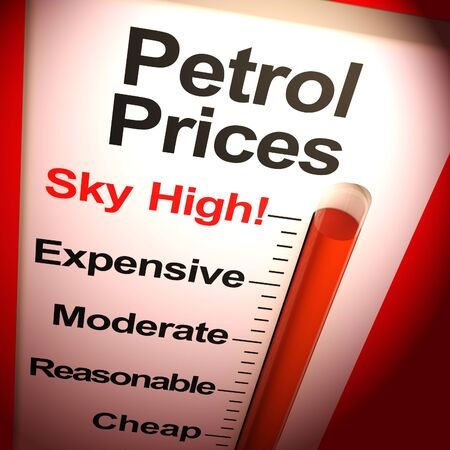 Petrol prices sky-high means expensive fuel prices for the car. Costly and unreasonable oil or gas - 3d illustration
