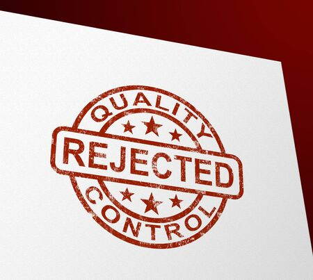 Reject or rejected stamp means refused entry or denied application. Unsuccessful attempt at permission - 3d illustration Stock Photo