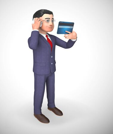Business credit card payments icon shows trade finance. Using plastic for purchases and expenses - 3d illustration