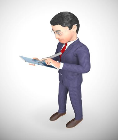 Businessman with tablet computer or touchpad for portable data work. Mobile applications using network - 3d illustration