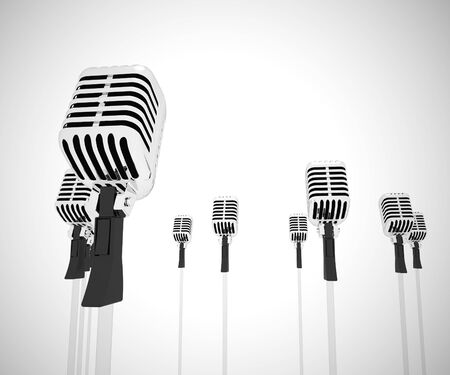 Microphone represents loudspeaker and performer like a singer. Vocalist or speech maker or a karaoke - 3d illustration