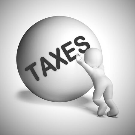 Taxes concept icon means tax burden due. Tariffs and payments now to be made - 3d illustration - 3d illustration Stock Photo