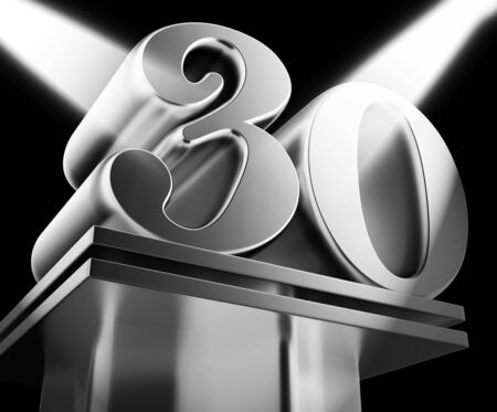 Thirtieth anniversary celebration shows celebrations and greetings for marriage. 30th year of marriage congratulation - 3d illustration Stock Photo