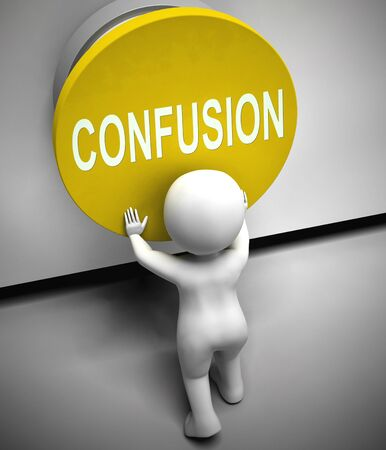 Confusion button concept meaning perplexing, bemused or clueless. A dilemma from complexity or crisis - 3d illustration - 3d illustration Stock Photo
