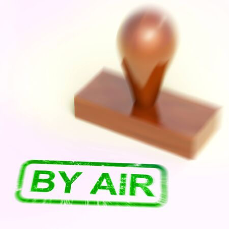 Airmail or par avion stamp meaning letters or parcels by air. Cargo and airfreight sent across the world by plane - 3d illustration Stock Photo