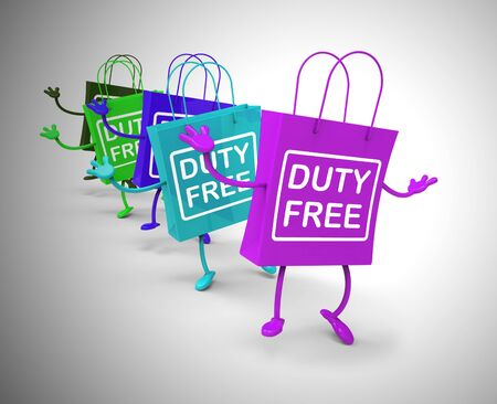 Duty-free concept icon means no customs payable. A product with no tax like airport shopping - 3d illustration Фото со стока