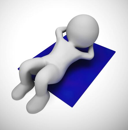 Sit ups exercise to get fit from a good workout. Getting stamina and staying fit in the gym - 3d illustration