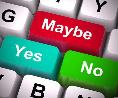 Maybe yes no keys show chance or probability. What could be or making a decision - 3d illustration