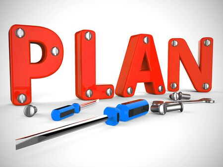 Plan concept icon means preparation and organisation of a project. Arrangements or blueprint of the strategic objectives - 3d illustration