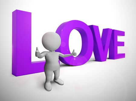 Love concept icon means I adore you and Im Yours. Fondness for a sweetheart - 3d illustration Stock Photo