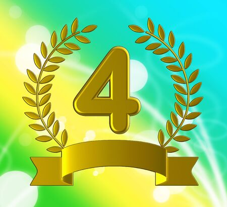 Fourth place certificate means victory success and winner. 4th rosette as celebration and medal - 3d illustration