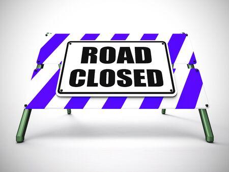 Road closed warning safety barrier means transportation should stop. Forbidden highway and detour - 3d illustration 스톡 콘텐츠