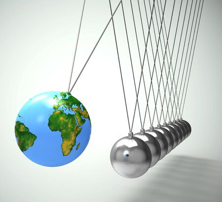 Newtons cradle pendulum with sphere or ball shows impact and effect. Swinging hypnotic physical experiment - 3d illustration Фото со стока