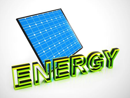 Solar power or electric energy from the sun. Alternative green and eco-friendly generation - 3d illustration