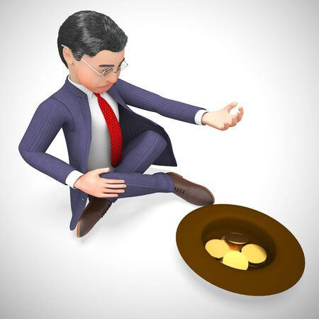 Beggar begging for money due to homelessness and hunger. On the street for donations out od desperation - 3d illustration