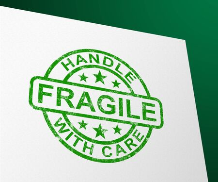 Fragile stamp means handle with care and be careful. Delicate and breakable goods that can easily perish - 3d illustration Archivio Fotografico - 131216656
