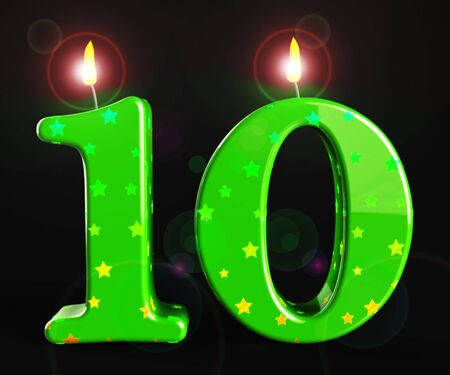 Tenth birthday celebration candle shows a happy event. Celebrating 10th with a joyful childs party - 3d illustration