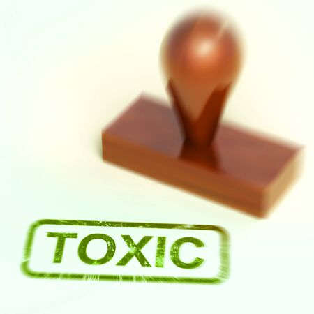 Toxic stamp means poisonous deadly and harmful. Dangerous from radiation or hazardous material - 3d illustration