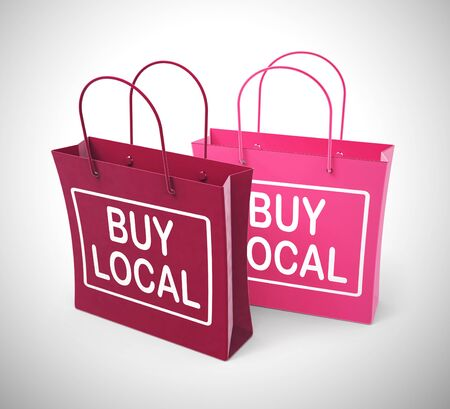 Buy local concept icon for purchasing from a village community. Fresh produce or products from a farmers market - 3d illustration