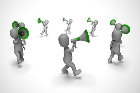 Megaphone used to give opinion announcement or make a speech. Loud hailer proclaiming complaint and grievance - 3d illustration Stock Illustration - 132381920