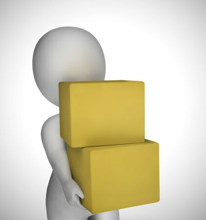 Parcel or package delivery depicts distributing Postal Services  or freight. Logistics of delivering  products - 3d illustration