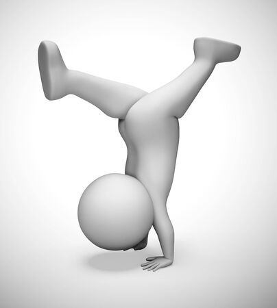 Handstand exercise icon means working out in the gym. Flexibility from aerobics causing healthy body - 3d illustration