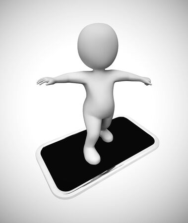 Smartphone or cellular mobile device for apps and internet. mobile communications or online service - 3d illustration