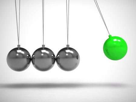 Newtons cradle pendulum with sphere or ball shows impact and effect. Swinging hypnotic physical experiment - 3d illustration Imagens