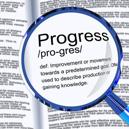 Progress definition means advancement or growth and development. Going forward and achieving more - 3d illustration