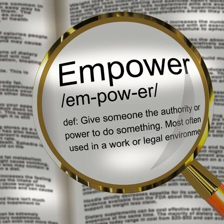 Empower yourself definition icon means enabling personal permission. Positive leadership and motivational aspirations - 3d illustration