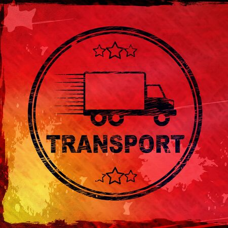 Transport stamp means delivery and haulier services. Express carrier or parcel shipping distribution - 3d illustration