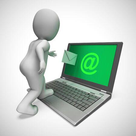 Les icônes de concept de courrier électronique signifient la correspondance par courrier électronique utilisant Internet. L'envoi de messages en ligne signifie des communications rapides - illustration 3d