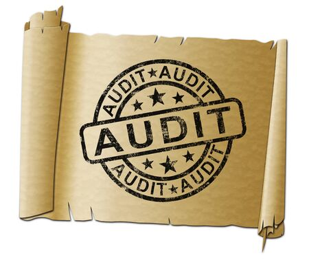 Financial audit concept icon shows taking stock of finances for tax or management. Checking and scrutinising paperwork - 3d illustration Foto de archivo