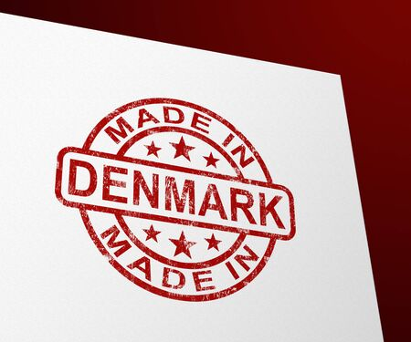 Made in Denmark stamp shows Danish products produced or fabricated. Quality patriotic exports for international trade - 3d illustration 写真素材