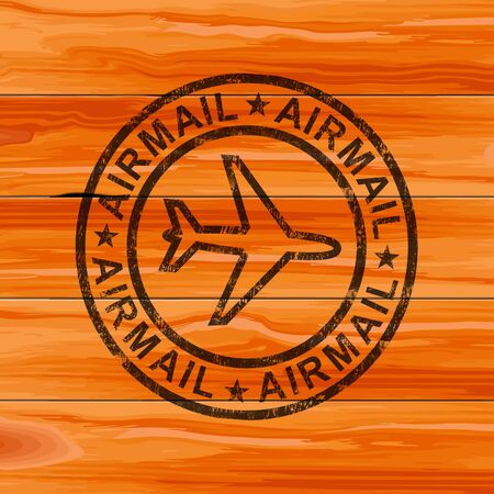 Airmail or par avion stamp meaning letters or parcels by air. Cargo and airfreight sent across the world by plane - 3d illustration Stockfoto