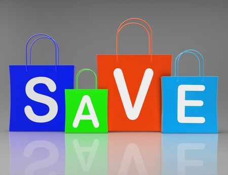 Save on discounts concept icon means a good bargain at reduced price. A mark down on the regular price - 3d illustration