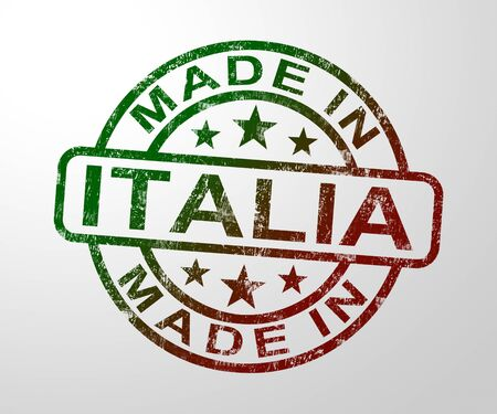 Made in Italy stamp shows Italian products produced or fabricated in Italia. Quality patriotic exports for international trade - 3d illustration