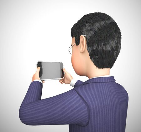 Businessman using a smartphone or mobile device app for information or data. Touch screen appliances and multimedia - 3d illustration