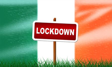 Ireland lockdown preventing ncov epidemic or outbreak. Covid 19 Irish precaution to isolate disease infection - 3d Illustration Banque d'images