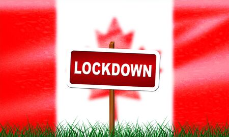 Canada lockdown preventing coronavirus spread or outbreak. Covid 19 canadian precaution to lock down virus infection - 3d Illustration Banque d'images
