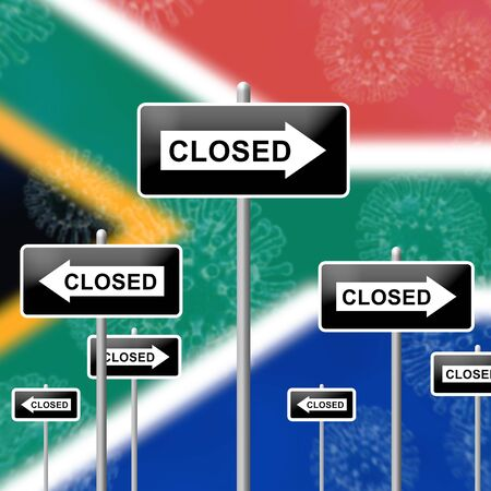 South Africa lockdown sign in solitary confinement or stay home. African lock down from covid-19 pandemic - 3d Illustration