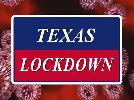 Texas lockdown means confinement from coronavirus covid-19. Texan solitary seclusion from covid19 with stay home restriction - 3d Illustration Standard-Bild