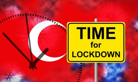 Turkey lockdown isolation preventing covid19 epidemic and outbreak. Covid 19 Turkish precaution to isolate disease infection - 3d Illustration