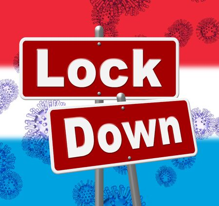 Luxembourg lockdown sign against coronavirus covid-19. Stay home order to enforce self isolation and stop infection - 3d Illustration